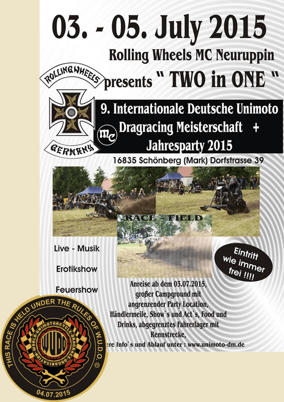 9. Internationale Deutsche Unimoto-Dragracing Meisterschaft 2015