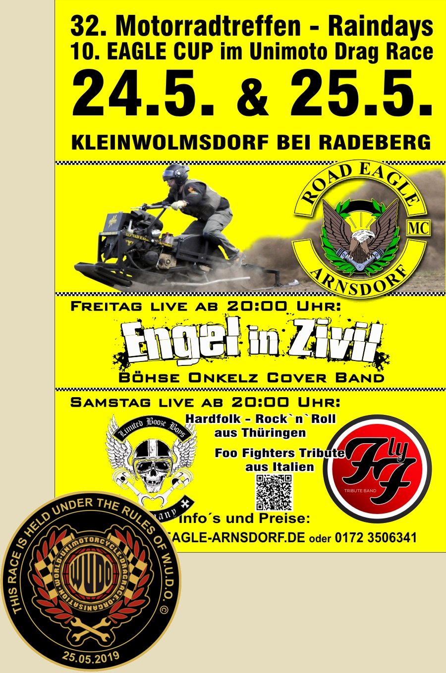 10. EAGLE CUP im Unimotorcycle Drag Race beim ROAD EAGLE MC Arnsdorf 2019