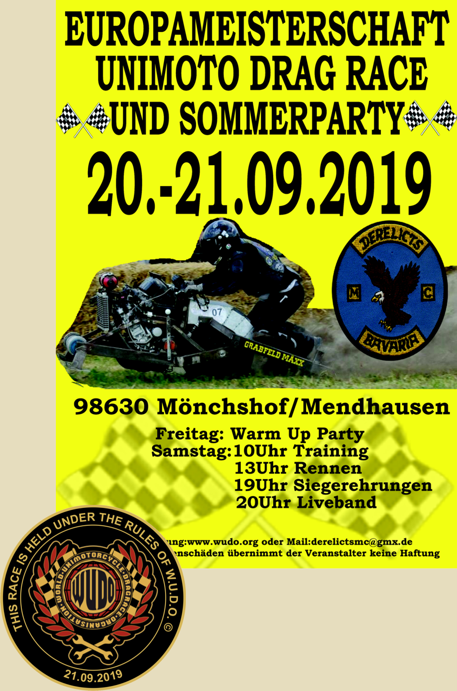 3. Grabfeld Cup Derelicts MC und EM im Unimotocycle Drag Race 2019