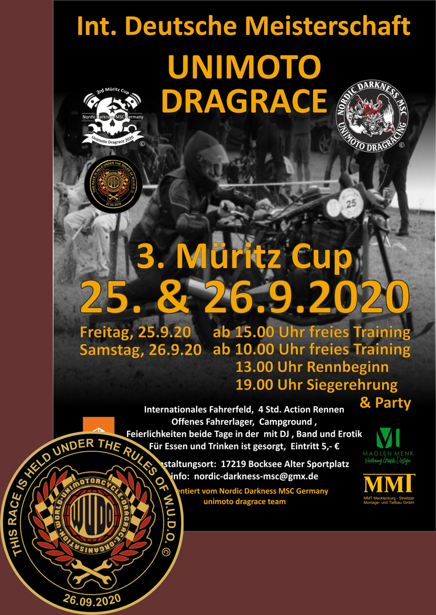 Internationale Deutsche Meisterschaft im Unimotorcycle Drag Race und 3. Mueritz Cup 2020