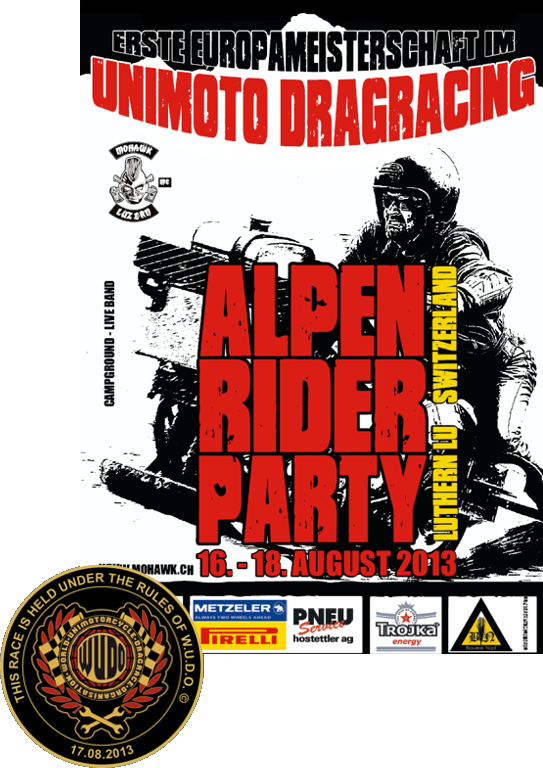 Alpenrider Party mit Europameisterschaft im Unimotorcycle Drag Race