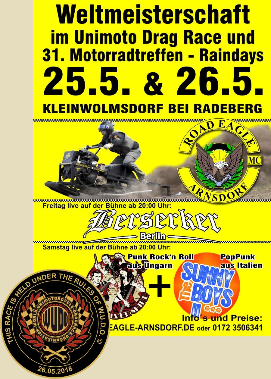 Weltmeisterschaft im Unimotorcycle Drag Race beim ROAD EAGLE MC Arnsdorf 2018