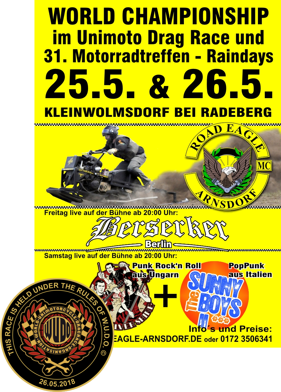 World Chamionship in Unimoto Drag Race at ROAD EAGLE MC Arnsdorf 2018