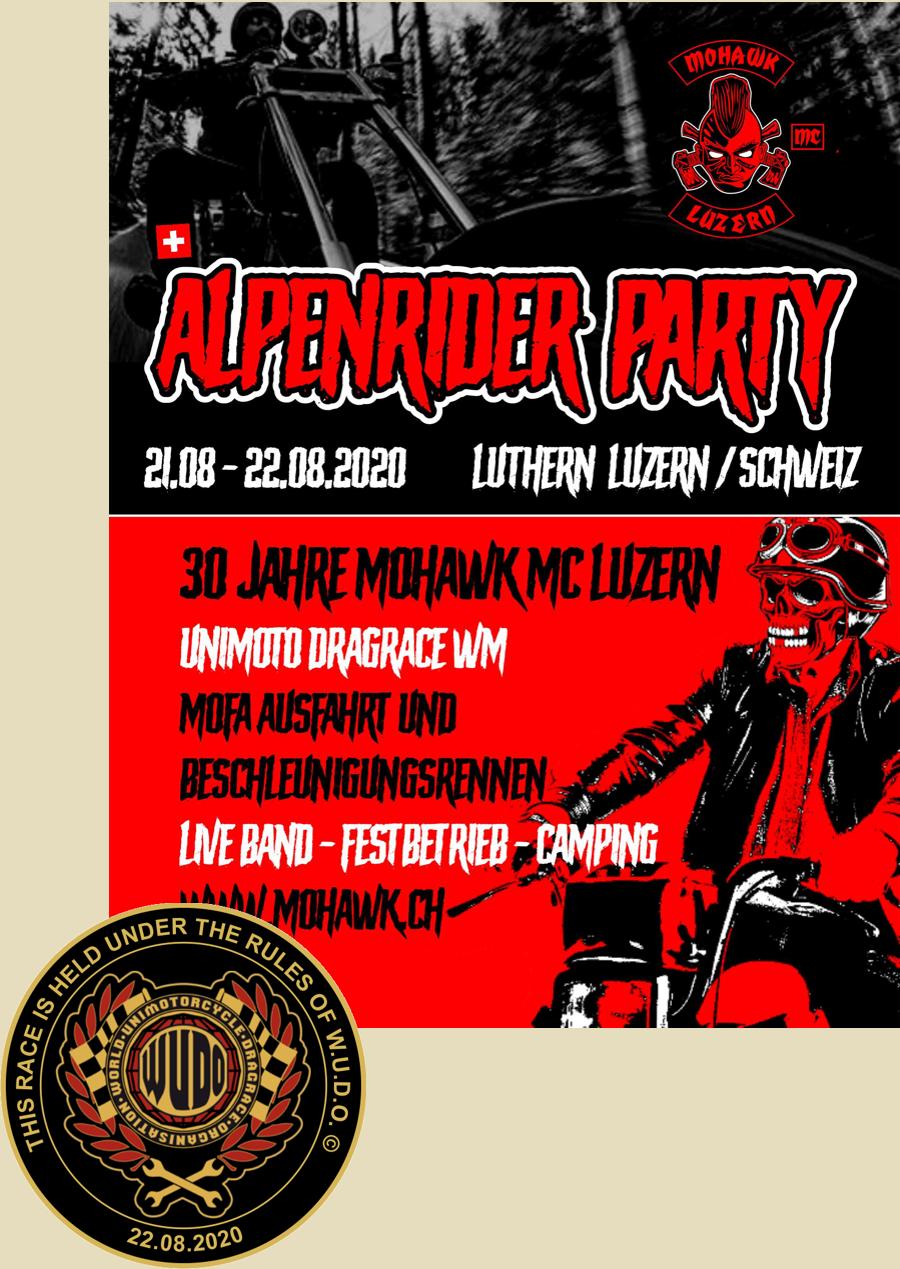 Weltmeisterschaft im Unimotorcycle Dragrace bei der Alpenrider Party vom Mohawk MC Schweiz