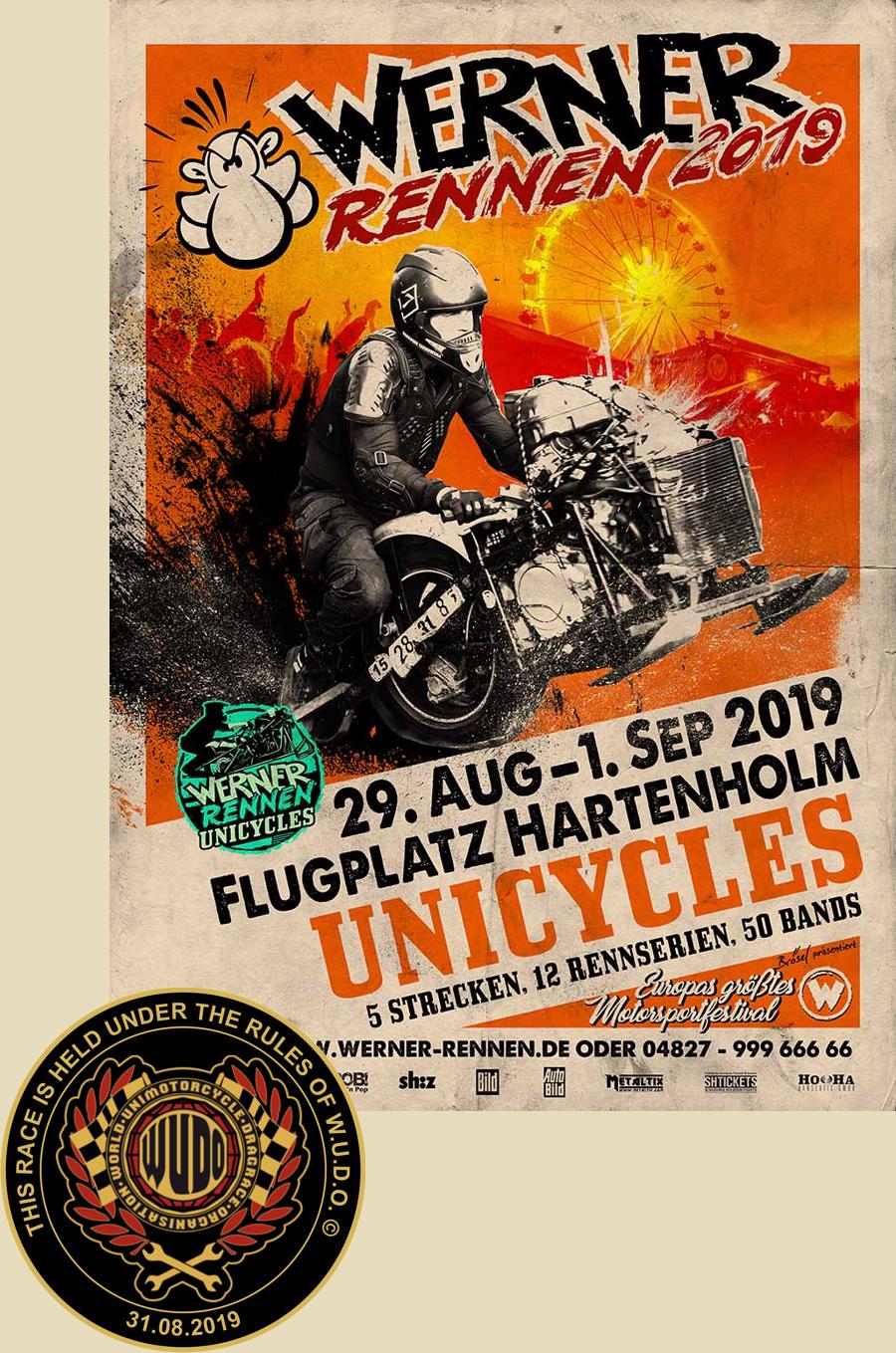internationale Deutsche Meisterschaft im Unimotorcycledragrace 2019 beim Werner Rennen in Hartenholm